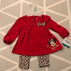 Red and Leopard Disney Baby Girl Outfit 6-9 Months